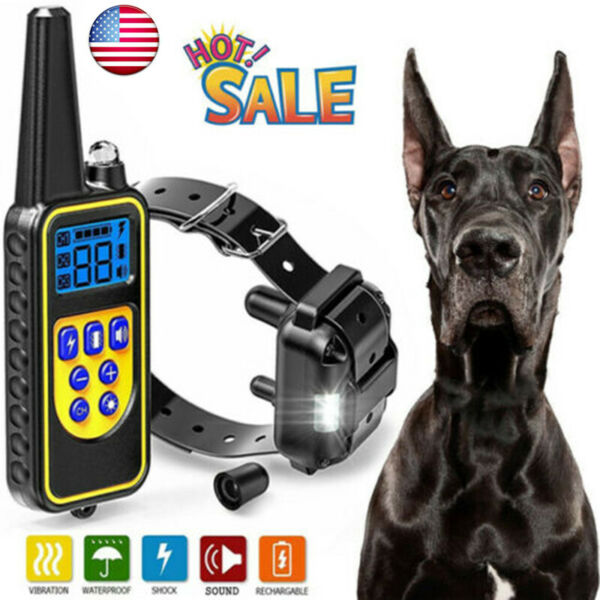 Dog Shock Collar With Remote Waterproof Electric For Large 875 Yard Pet Training $23.95