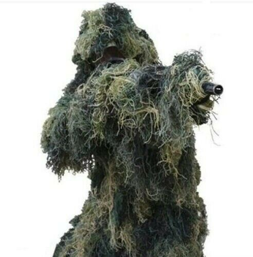 3D Ghillie Suit Sniper Leaf Jungle Forest Wood Hunting Camouflage XXL
