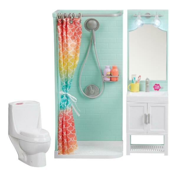 Bathroom Play Set Shower Vanity Dollhouse Furniture for 18quot; My Life As Dolls $53.29