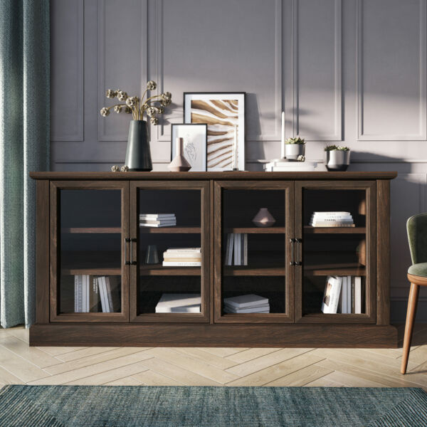 70quot; Wood Sideboard Universal Stand Glass Doors Buffet Cabinet Storage 5 Colors