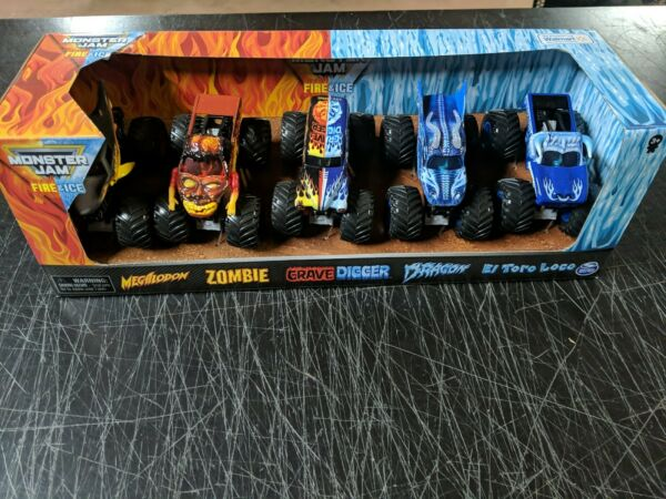 MONSTER JAM FIRE amp; ICE Grave Digger Zombie Dragon El Toro Loco Megalodon 5 Truck