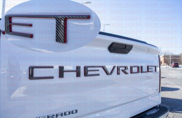 3D Raised Black fiber with Red Tailgate letters For Chevrolet Silverado 2019 21 $62.88