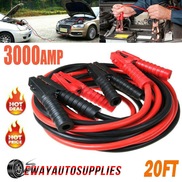3000Amp 0 Gauge Booster Cables 20FT Power Start Jumper Heavy Duty Car Emergency $45.95