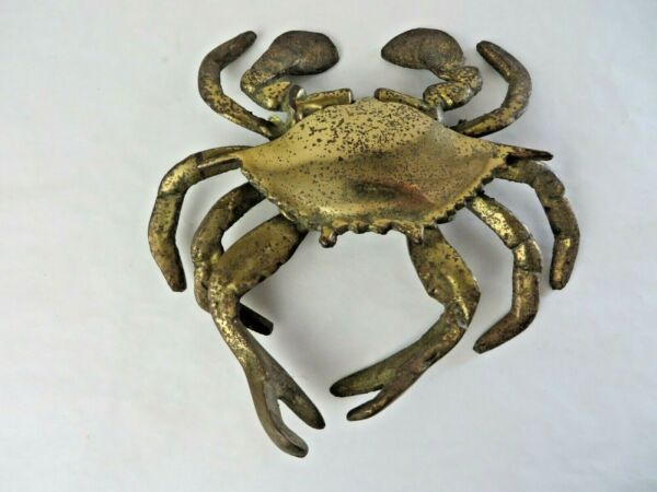 Vintage Brass Crab Hinged Lid Ashtray Approx 5.5quot; x 5.5quot; #12351