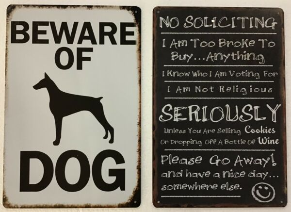 8x12 TIN SIGNS 2 pc SET Beware dog no soliciting funny vintage plaque poster new $19.99