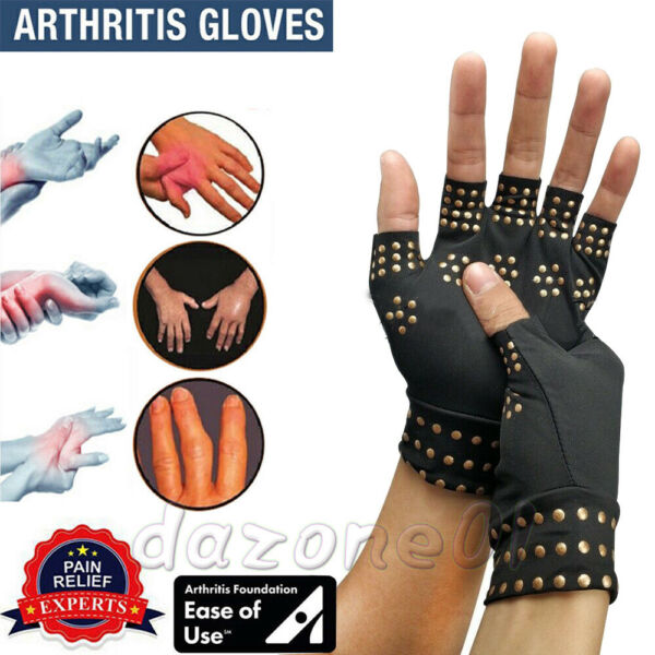 Arthritis Gloves Fingerless Copper Fit Compression Medical Support Therapeutic