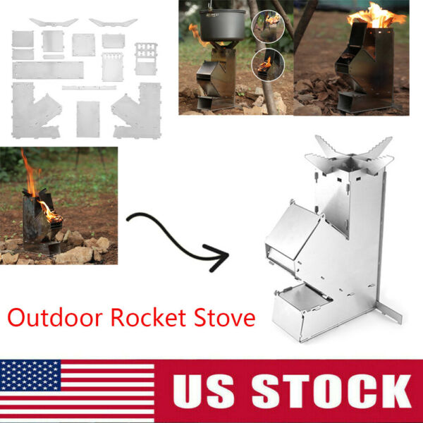Camping Stove Detachable Outdoor Wood Burners Stainless Steel Rocket Stove USA $25.54