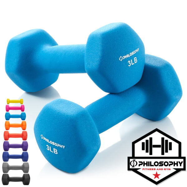 Neoprene Hex Dumbbell Hand Weights Set of 2 Workout Strength Training