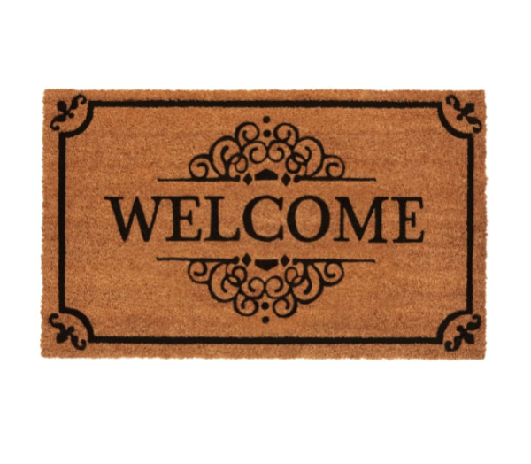 Front Door Welcome Mats With Border Coco Coir Fiber Outdoor Mats
