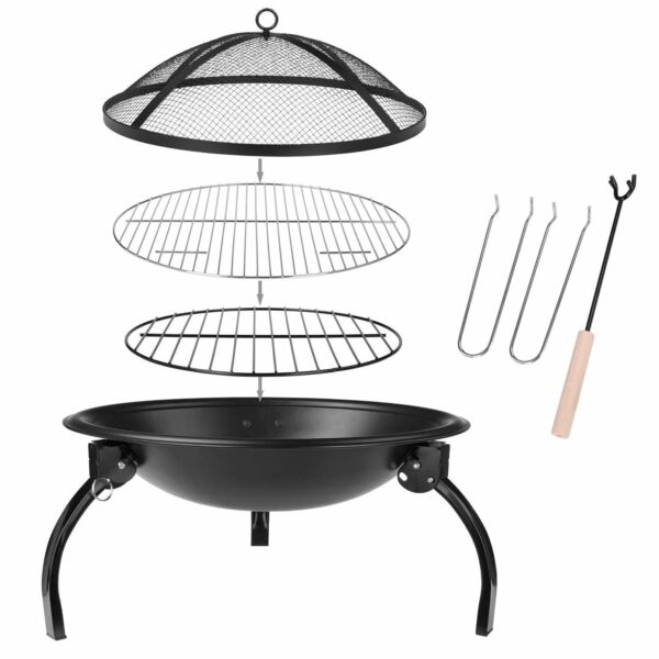 Fire Pit BBQ Barbecue Grill Heater Foldable Patio Outdoor Firepit Brazier Bowl