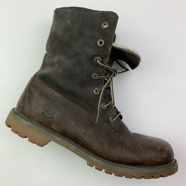 Timberland Womens Teddy Fold Over Sherpa Suede Leather Boot 8327R size 9.5 L6 $58.00