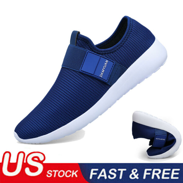 Men#x27;s Slip on Running Casual Sneakers Lightweitht Tennis Walking Athletic Shoes $23.99