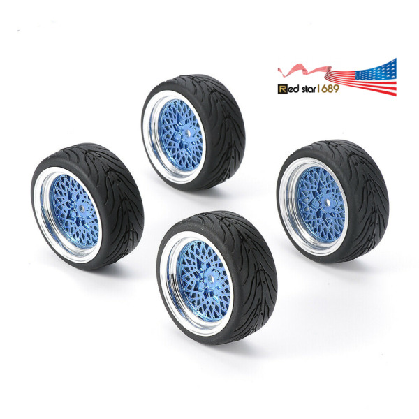 4Pcs 1:10 Scale RC Rubber Flat Tires amp;Wheel Rims On Road For HPI HSP Racing Car $15.03