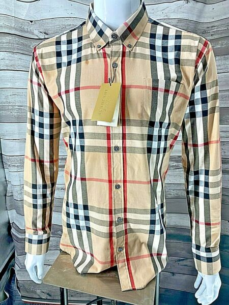 NWT Brand New Burberry MEN#x27;S Button up CASUAL Check shirt size S XXL $95.00