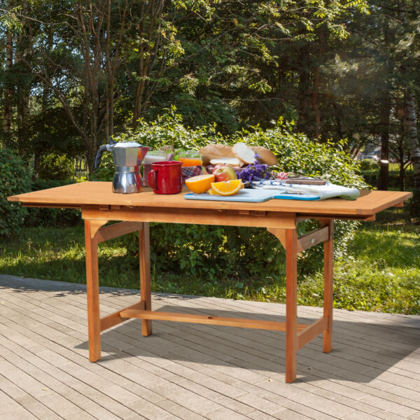 Slatted Acacia Wood Rectangular Expandable Outdoor Patio Dining Table $219.99