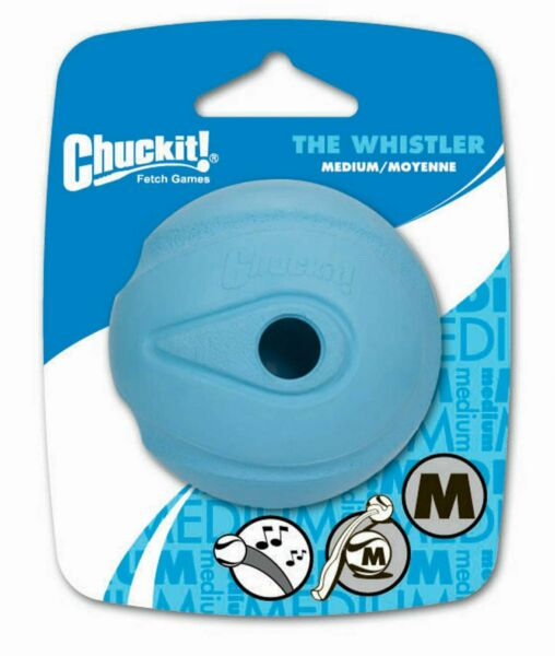 Chuckit WHISTLER Dog Fetch Ball Medium Ball 1 Pack Whistles Natural Rubber Toy $7.99