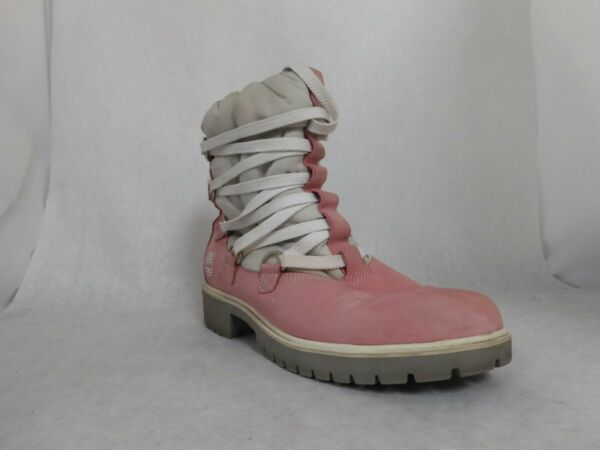 Timberland Pink Leather Insulated Shaft Boots w White Shaft Wmn#x27;s Size 8 M $49.99