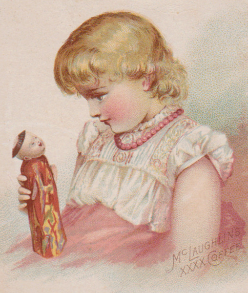 McLAUGHLIN#x27;S COFFEE TRADE CARD PRETTY LITTLE GIRL WITH HER MALE DOLL X1093