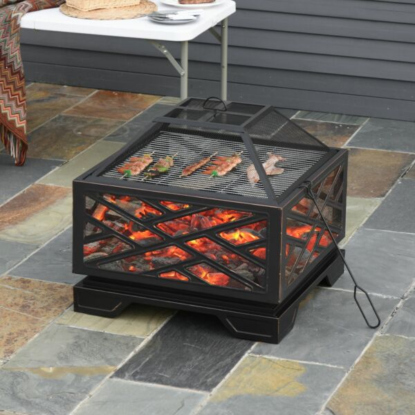 Outsunny 26quot; Outdoor Steel Square Fire Pit w Grill Net for BBQ amp; Spark Cover
