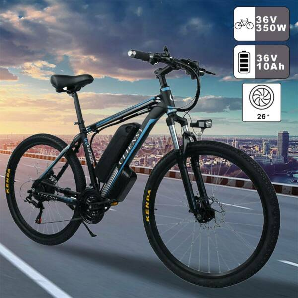 36V 350W 26#x27;#x27; 21 Speed CLIENSY Blackamp;Blue E Mountain Bike Bike Bicycle $629.99