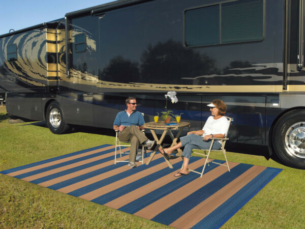 9#x27; X 12#x27; Reversible RV Patio Mat Indoor Outdoor Garden Camping Rug Multicolor