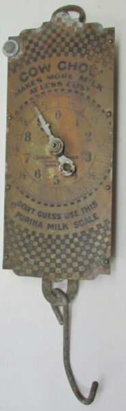 Cow Chow Purina Antique Spring Balance Brass Advertising Scale More Milk