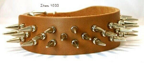Liberty Bully Leather Spiked Dog Collar 2quot; Wide 4033 30 $49.99