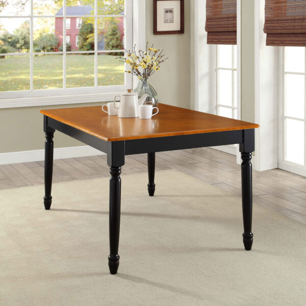 Farmhouse Dining Table Black Oak Tabletop Seats 6 Dining Solid Wood Large Table