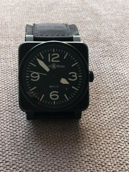 Bell amp; Ross BR03 92 Automatic Winding Metal Stainless Steel Mens Watch BLACK $1800.00