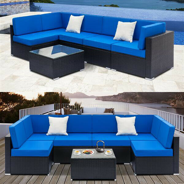 2 7PCS Outdoor Patio Sectional Furniture PE Wicker Rattan Sofa Set Garden Yard