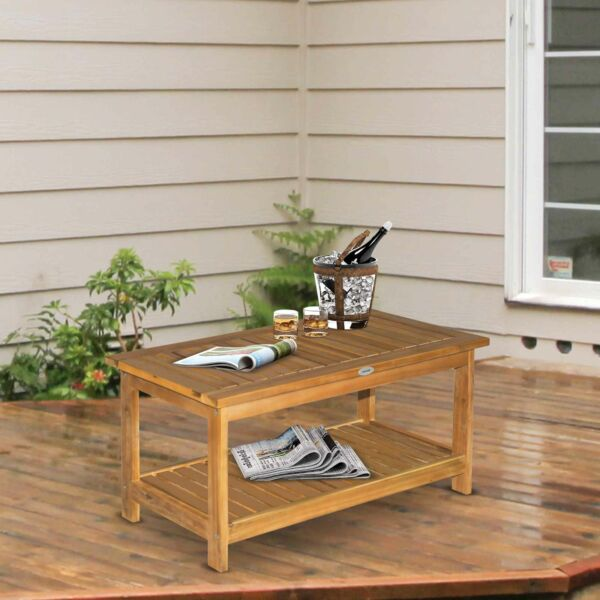 Outsunny Outdoor Wood Coffee Table Accent Furniture with 2 Shelf Teak $89.99