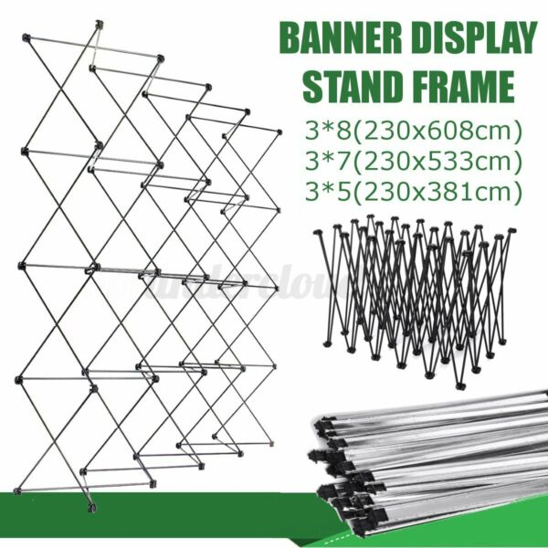 Iron Retractable Stand Wall Frame Wedding Party Photo Backdrop Banner Displa $68.48
