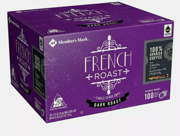 Member#x27;s Mark French Roast Coffee Fair Trade Certified 100 single serve cups