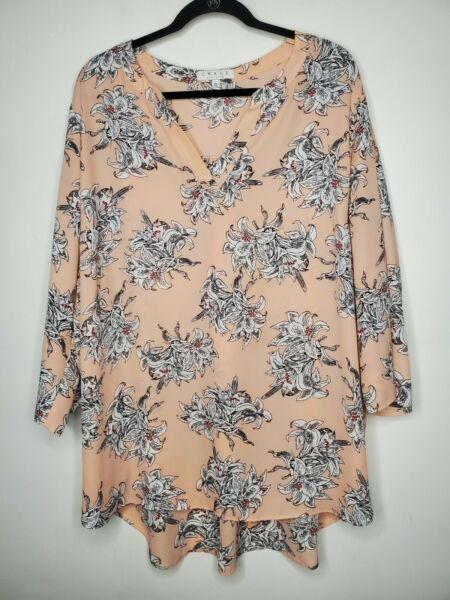 Chaus New York 3X Floral Blouse peach neck pullover plus size $16.00