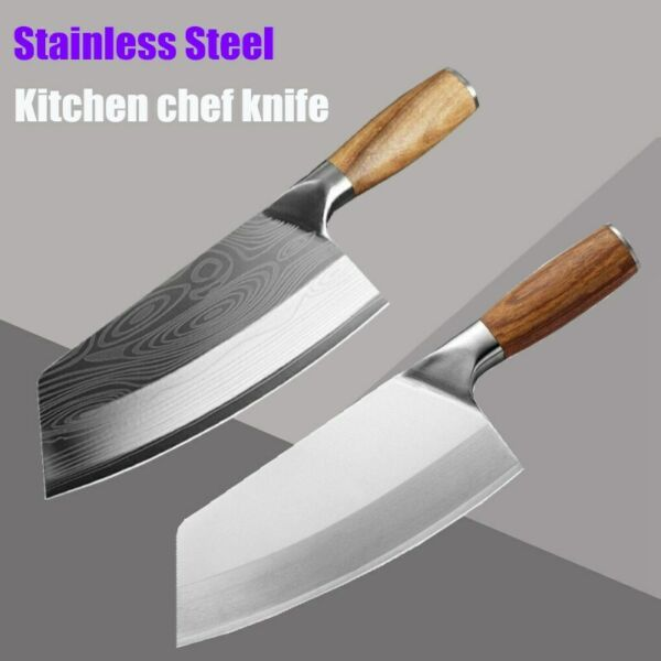 Kitchen Knife Cleaver Stainless Steel Chef Slicing Cooking Chopping Knives Tool
