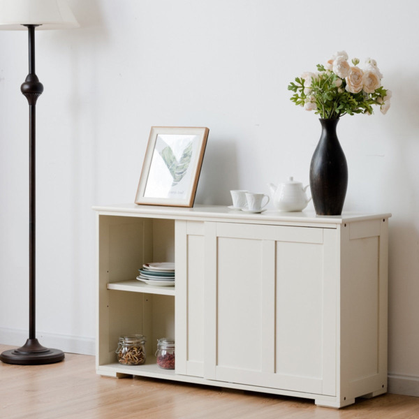 Kitchen Storage Cabinet Sideboard Buffet Cupboard Wood With Sliding Door Pantry