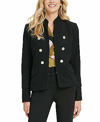 DKNY NWT Size 6 Black Stand Collar Double Breasted Military Jacket Women#x27;s