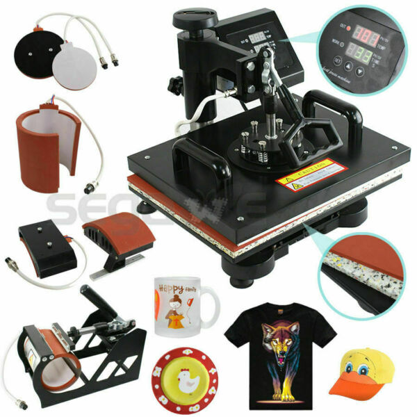 Mug Hat 5 in 1 Dual Digital Transfer Sublimation Heat Press Machine for T Shirt $38.00