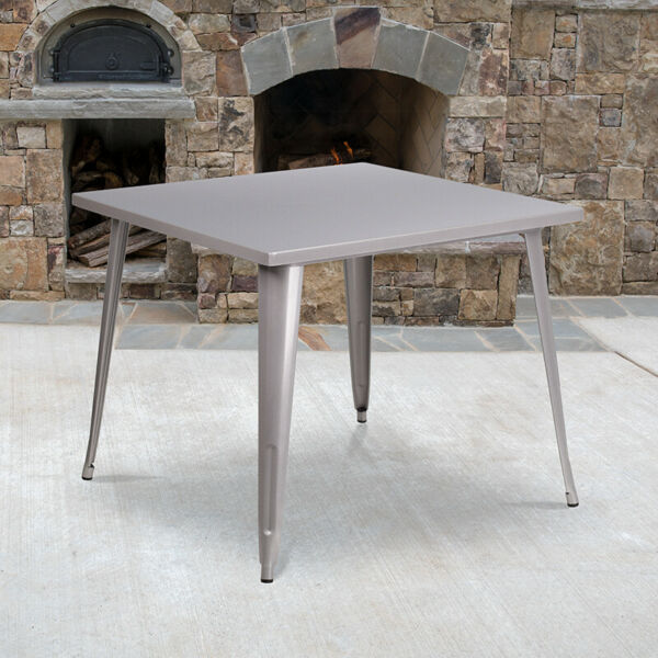 35.5quot; Square Blue Metal Indoor Outdoor Table Industrial Table $158.99