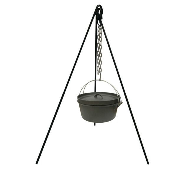 Cast Iron Pot Tripod Camping Outdoor Cooking Campfire Picnic Fire Grill Oven