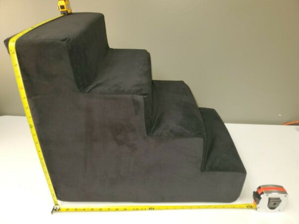 Majestic Pet 4 Step Velvet Suede Pet Stairs Foam Feeling Pet Step for Dogs amp;
