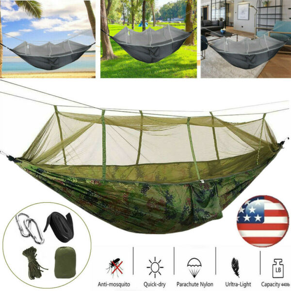 Military Camping Hammock with Mosquito Net Nylon Tent Garden Hanging Bed Outdoor