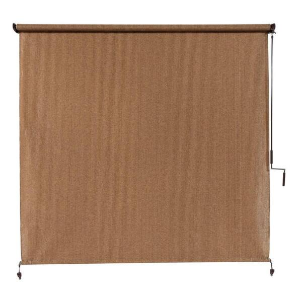 Cordless Outdoor Roller Shade 10X8 ft. Exterior Roll Up Blind Fabric Large Brown $137.99