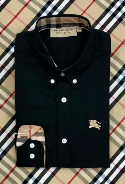 NWT Brand New Burberry Button up Black color solid formal  Shirt  size Large $79.00