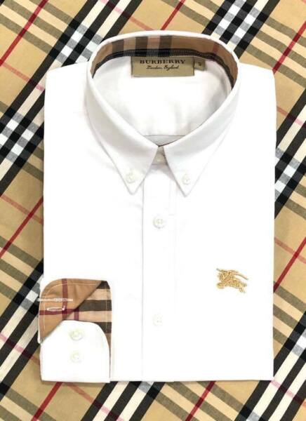 NWT Brand New Burberry Button up Black color solid formal  Shirt  size Small $79.00
