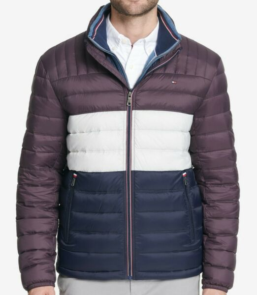Tommy Hilfiger Men#x27;s Insulated Packable Down Puffer Nylon Jacket SIZE LARGE $89.99