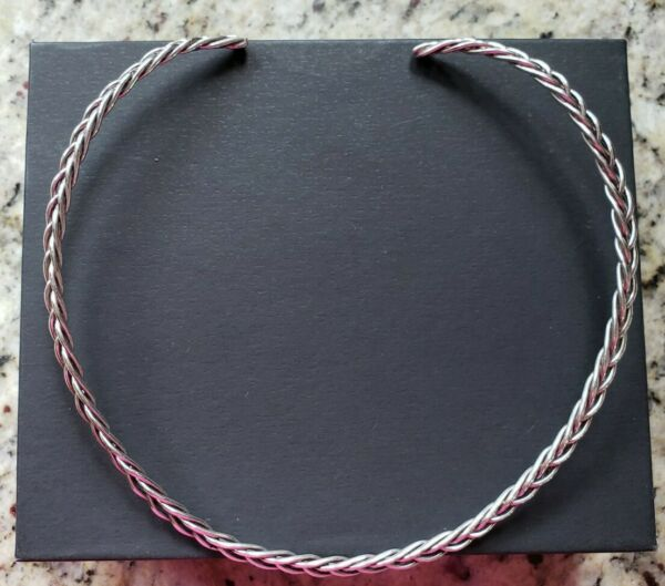 Sterling Silver Collar Necklace Slide Chocker Braided Open Back Handmade amp; Woven $64.99
