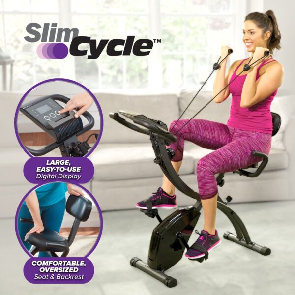 As Seen On TV Slim Cycle Stationary Bike Folding Indoor Exercise Bike with $41.40