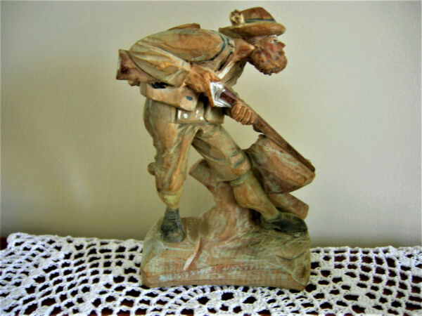 Anri ? Black Forest ? ITALY Hand Carved Wood LARGE Figure MAN RIFLE  Hunter