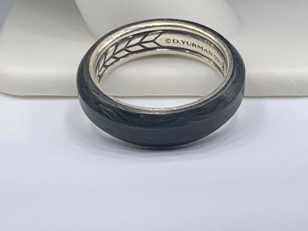David Yurman Forged Carbon and Sterling Silver Ring 6mm Size 9.5 $275.00